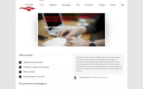 Screenshot of Home Page infologo.ch - Maintenance informatique, centraux Avaya, Wi-Fi, Genève, Lausanne - captured Oct. 6, 2014