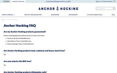 Screenshot of FAQ Page anchorhocking.com - Anchor Hocking FAQ - captured Aug. 10, 2019