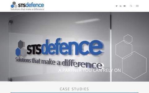 Screenshot of Case Studies Page sts-defence.com - Case Studies - STS Defence - captured Sept. 30, 2018