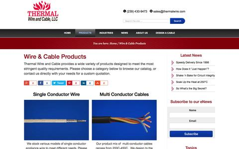 Screenshot of Products Page thermalwire.com - Products: Wires & Cables - captured Dec. 23, 2016