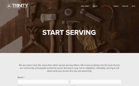Screenshot of trinityworship.net - Start Serving — Trinity Worship Center - captured Oct. 2, 2017