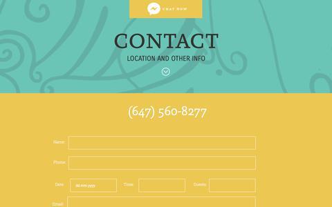 Screenshot of Contact Page loscolibris.ca - Contact Us | Los Colibris, Toronto - captured July 23, 2018
