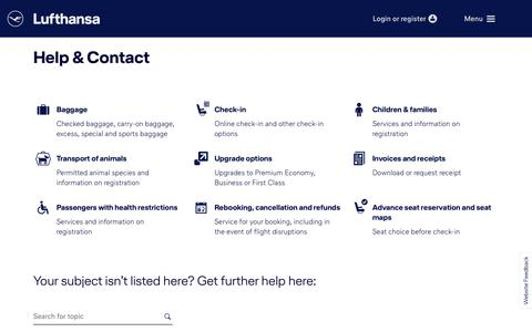 Screenshot of Support Page lufthansa.com - Help & Contact - captured Oct. 28, 2018