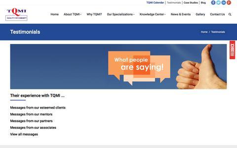 Screenshot of Testimonials Page tqmi.com - Testimonials - TQMI - captured Oct. 26, 2017