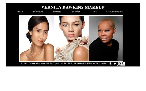 Screenshot of Home Page vernitadawkinsmakeup.com - Washington DC, Maryland, Virginia Makeup Artist for editorial, advertising, video, TV, film, special events - Home Page 301.841.6155/VernitaDawkinsMakeup.com - captured Dec. 3, 2016
