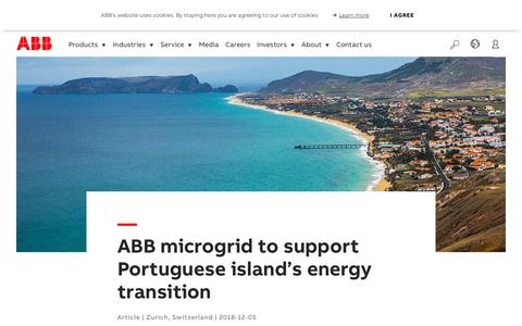 Screenshot of Support Page abb.com - ABB microgrid to support Portuguese island's energy transition - captured Nov. 9, 2019