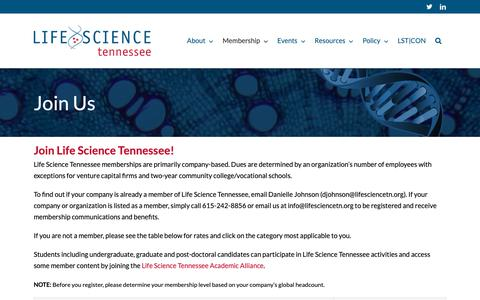 Screenshot of Signup Page lifesciencetn.org - Join Us - Life Science TN - captured Sept. 28, 2018