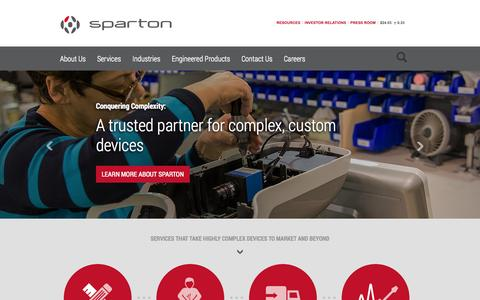 Screenshot of Home Page sparton.com - Sparton - Complex Contract Design and Manufacturing Services - captured Oct. 5, 2014