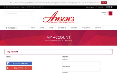 Screenshot of Signup Page Login Page ansons.ph - My Account | Ansons - captured Nov. 8, 2018