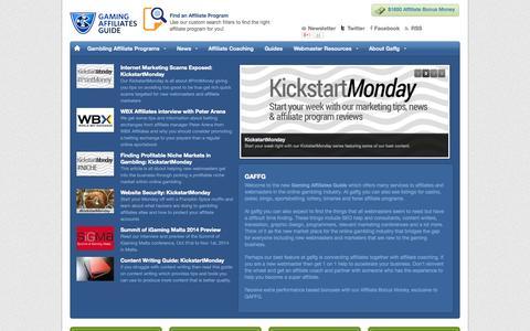 Screenshot of Home Page gaffg.com - Online Gambling Affiliates Programs & Guide - captured Sept. 25, 2014