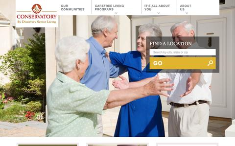 Screenshot of Home Page conservatoryseniorliving.com - Luxury Retirement and Senior Living | Conservatory Senior Living - captured Dec. 10, 2015