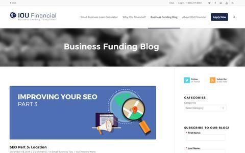 Screenshot of Blog ioufinancial.com - Business Funding Blog | IOU Financial - captured Dec. 21, 2015