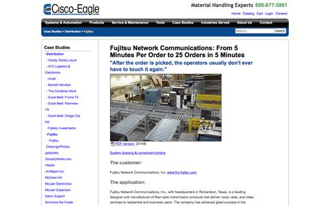 Screenshot of Case Studies Page cisco-eagle.com - Fujitsu dramatically improves order rate with material handling system - captured Jan. 5, 2017
