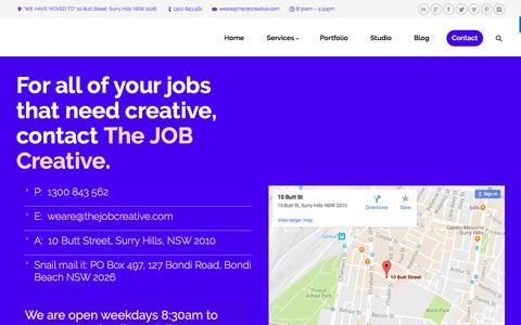Screenshot of Contact Page thejobcreative.com.au - The JOB Creative | Contact :: Graphic Design Agency :: Sydney - captured Dec. 22, 2016