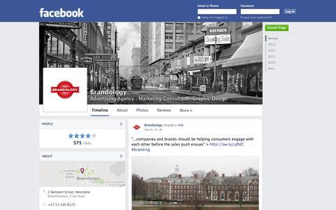 Screenshot of Facebook Page facebook.com - Brandology - Bloemfontein, South Africa - Advertising Agency, Marketing Consultant | Facebook - captured Oct. 23, 2014