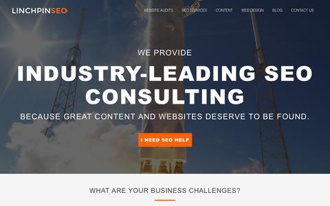 Screenshot of Home Page linchpinseo.com - LinchpinSEO: Chicago SEO Consulting & Web Design Company - captured Feb. 10, 2016