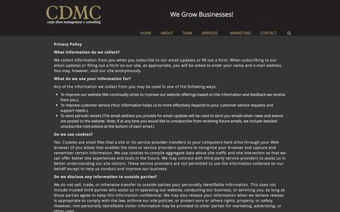 Screenshot of Privacy Page cdmc.info - Privacy Policy - CDMC Carpe Diem Management and Consulting - captured Oct. 25, 2016