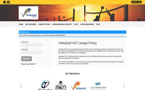 Screenshot of Login Page volleyballact.com.au - Log In - Volleyball ACT - captured Sept. 20, 2018