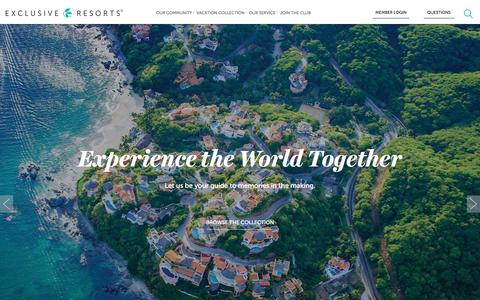 Screenshot of Home Page exclusiveresorts.com - Exclusive Resorts | Luxury Vacation and Travel Club - captured May 5, 2017