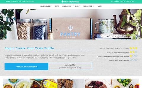 Screenshot of trytheworld.com - Pantry Selection                       Try The World - captured Dec. 28, 2016
