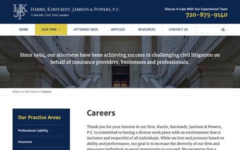 Screenshot of Jobs Page hkjp.com - Careers at HKJP | Harris, Karstaedt, Jamison & Powers, P.C. Attorneys Englewood - captured Sept. 27, 2018
