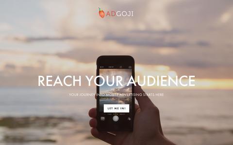 Screenshot of Home Page adgoji.com - AdGoji   Mobile DSP - captured July 23, 2016