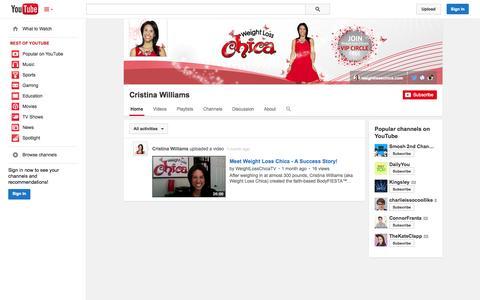 Screenshot of YouTube Page youtube.com - Cristina Williams  - YouTube - captured Nov. 3, 2014