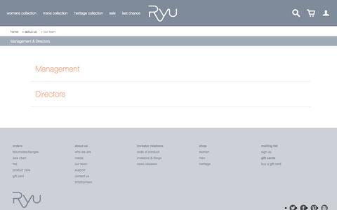 Screenshot of Team Page ryu.com - Management & Directors                           | RYU - captured Sept. 17, 2014