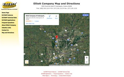 Screenshot of Maps & Directions Page elliottfoam.com - Map and directions to Elliott Company of Indianapolis, manufacturer of ELFOAM®. - captured Sept. 28, 2018