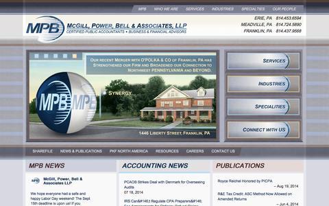 Screenshot of Home Page mpbcpa.com - McGill, Power, Bell & Associates - McGill, Power, Bell & Associates - captured Oct. 6, 2014