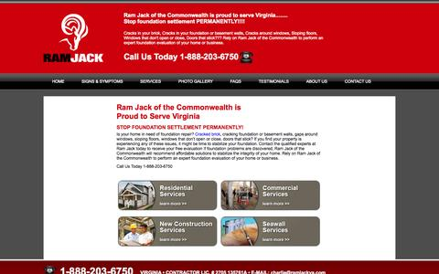 Screenshot of Services Page ramjackva.com - Our Services | Residential and Commercial Foundation| RamJackVA.com - captured Oct. 27, 2014