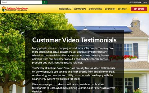 Screenshot of Testimonials Page sullivansolarpower.com - Solar Power Reviews and Testimonials | Sullivan Solar Power - captured July 9, 2019