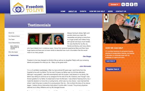 Screenshot of Testimonials Page freedomtolive.org - Testimonials | Freedom To Live - captured Sept. 30, 2014