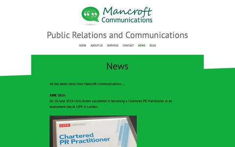 Screenshot of Press Page mancroftcommunications.co.uk - News – Public Relations and Communications - captured Nov. 4, 2018