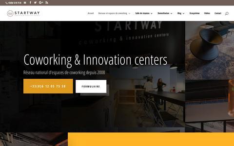Screenshot of Home Page start-way.com - Coworking bureaux partagés centre d'affaires Domiciliation - captured Sept. 21, 2018