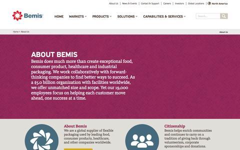 Screenshot of About Page bemis.com - Bemis - About Bemis Company, Inc. | Bemis - captured Nov. 3, 2014