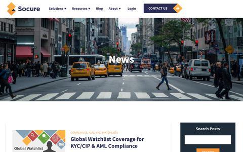 Screenshot of Press Page socure.com - News | ID Verification Services | Socure | Watchlists - captured Oct. 18, 2019