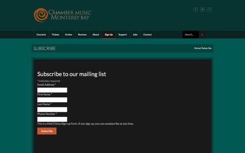 Screenshot of Signup Page chambermusicmontereybay.org - Subscribe - Chamber Music Monterey Bay - captured July 17, 2018