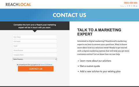 Screenshot of Landing Page reachlocal.com - ReachLocal Contact Us - captured March 14, 2016