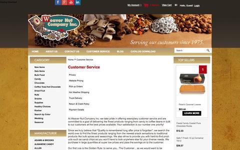 Screenshot of Support Page weavernut.com - Customer Service - captured Nov. 3, 2014