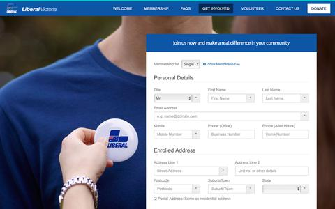 Screenshot of Signup Page liberal.org.au - Join Us Now - Liberal Party of Australia (Vic Div) Membership Site - captured Dec. 19, 2018