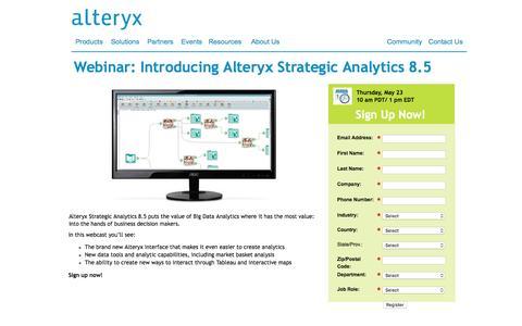 Screenshot of Landing Page alteryx.com - Introducing Alteryx Strategic Analytics 8.5 - captured May 10, 2016
