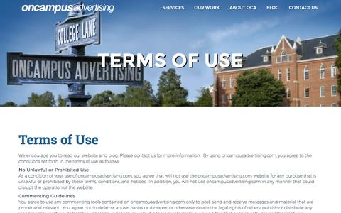 Screenshot of Terms Page oncampusadvertising.com - Terms of Use - OnCampus Advertising | OnCampus Advertising - captured Dec. 19, 2016
