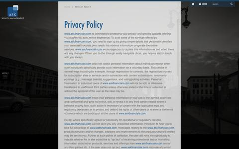 Screenshot of Privacy Page askfinancials.com - ASK Wealth Management - Privacy Policy - captured Feb. 5, 2016