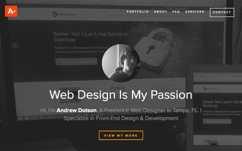 Screenshot of Home Page andrewdotson.com - Andrew Dotson - Freelance Web Designer & Developer in Tampa, FL - captured Sept. 7, 2015