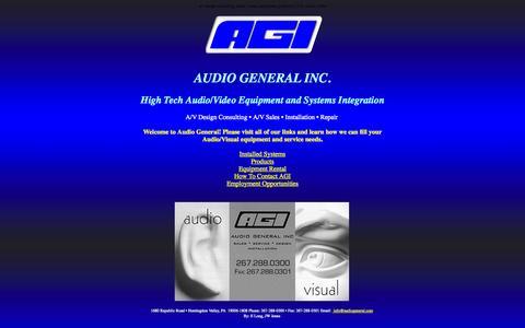 Screenshot of Home Page audiogeneral.com - Audio General Inc. - captured Sept. 30, 2014