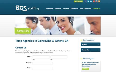 Screenshot of Contact Page Hours Page bosstaff.com - Temp Agencies in Gainesville & Athens GA | BOS Staffing - captured Oct. 23, 2014