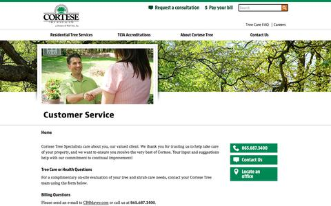 Screenshot of Support Page cortesetree.com - Customer Service | Cortese - captured Nov. 12, 2016
