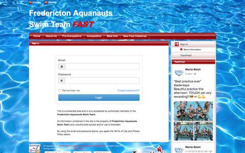 Screenshot of Login Page teamunify.com - Fredericton Aquanauts Swim Team : Sign In - captured Jan. 28, 2018