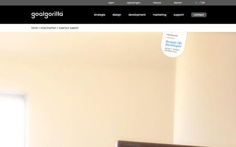 Screenshot of Support Page goalgorilla.com - Website onderhoud - Je Drupal website altijd veilig en snel - captured Jan. 31, 2016